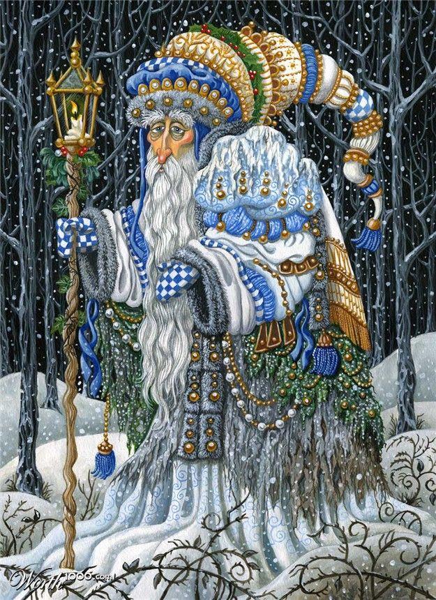 Winter by bajazet  grandfather  frost zentangle ukrainian blue