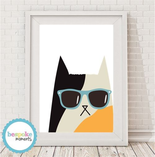 Cool Cat Print by Bespoke Moments. Worldwide Shipping  Available.