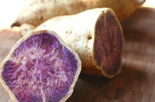 Health benefits of the Okinawa diet. Okinawa food | Okinawan Purple Sweet Potatoes. Known for being a super food rich in antioxidants and sweeter than orange sweet potatoes.