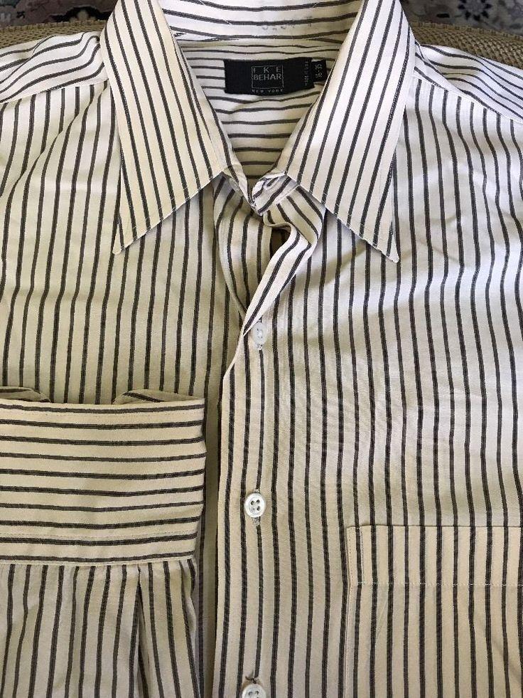 Men IKE Behar 16-35 Yellow Dress Shirt with Brown Black Stripes L/S with Pocket  | eBay