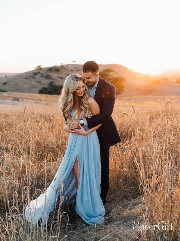 Thigh Split Sky Blue Rustic Wedding Dresses Beach Wedding Gown with Court Train ARD1325