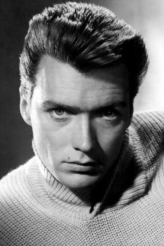 CLINT EASTWOOD HEAD SHOT B/W poster youthful INTENSE collector's item 24X36-PW0
