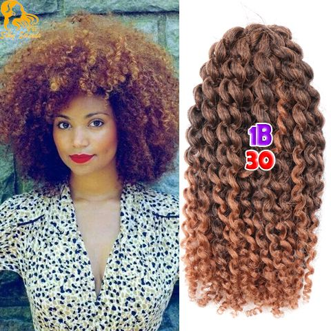 8 Inch Short Curly Crochet Braid Hair 90g/Set Freetress Ombre Synthetic Marlybob Curly Crochet Hair Styles Afro Kinky Twist Hair