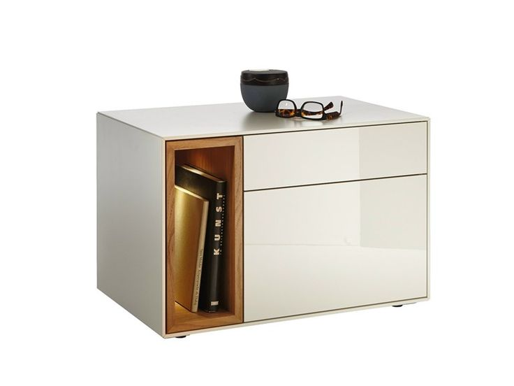 Lacquered rectangular bedside table with drawers LUNIS | Lacquered bedside table - Hülsta-Werke Hüls