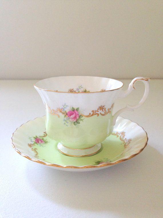 Rare English Bone China Royal Albert Tea Cup and Saucer Invitation Series Pattern Montrose Shape Pastel Green Tea Soiree
