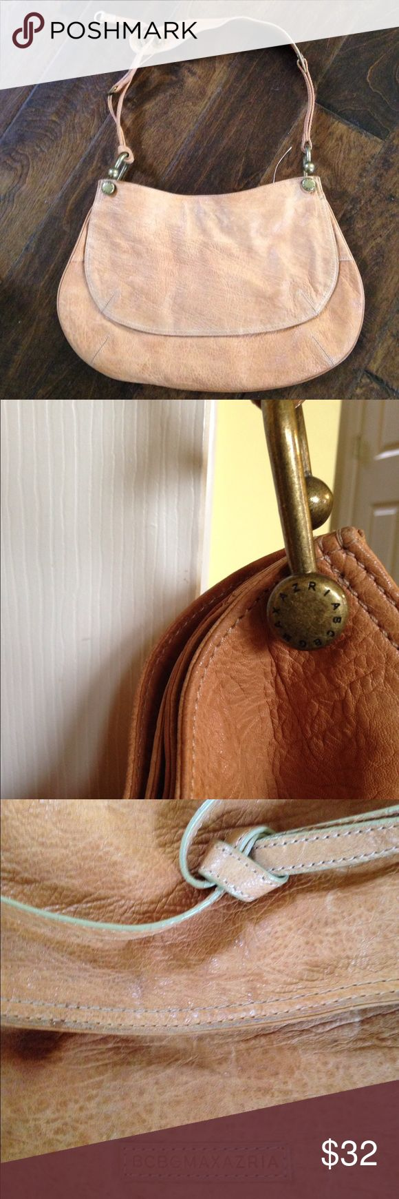 BCBG hobo style bag/purse.  Soft gorgeous leather BCBG hobo style bag/purse.  Soft gorgeous leather.  The 3rd pic is the most accurate color.  It's a nude shade.  A must for daily bag! BCBG Bags
