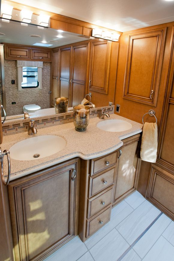 The Newmar Ventana 39 S Master Bathroom Features The Dual Sinks In The Master Bathroom See More