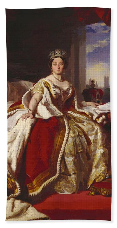 Queen Beach Towel featuring the painting Queen Victoria 1859 by Winterhalter Franz Xaver