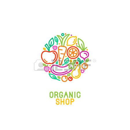 Vector logo design template with fruit and vegetable icons in trendy linear style - abstract emblem for organic shop, healthy food store or vegetarian cafe photo