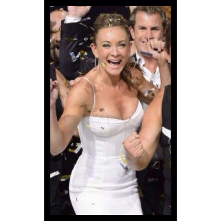 Michelle Bridges wearing white Alex Perry dress