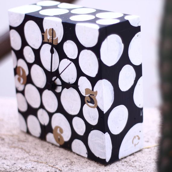 Black and white wooden hand painted clock made by littlerocksPK