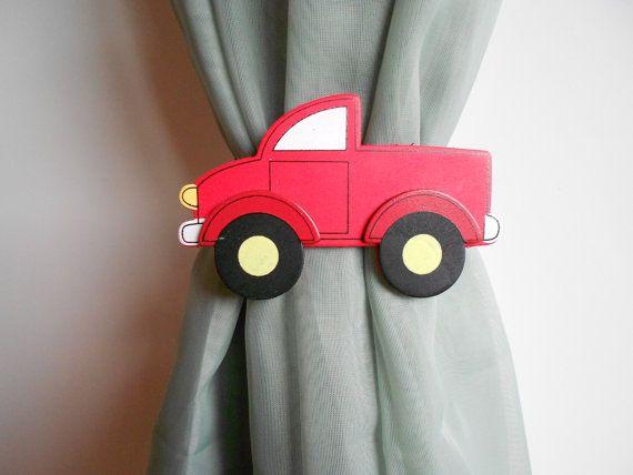 Red Curtain Tie Backs - Nursery Decor - Transportation Nursery - Little Boy - Country Truck Nursery - Little Girl