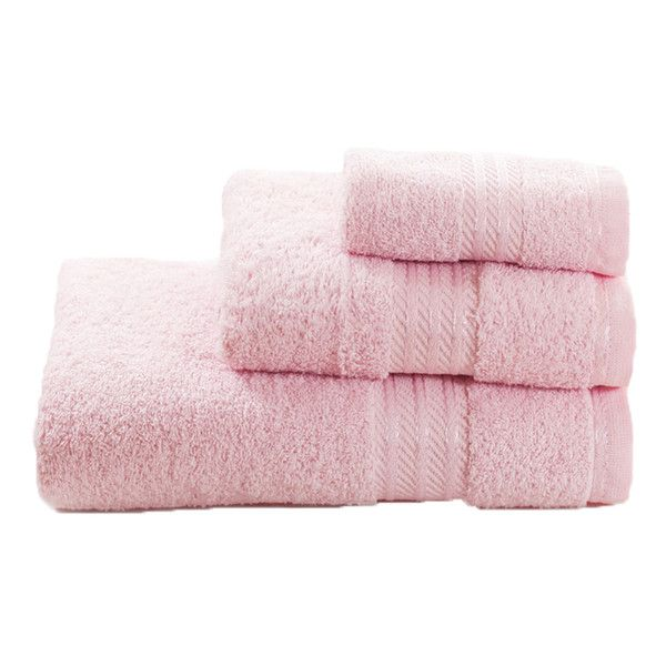 Restmor 100% Egyptian Cotton 3 Piece Towel Bale ($16) ❤ liked on Polyvore featuring home, bed & bath, bath, bath towels, fillers, add-ons, towel, egyptian cotton bath towels, egyptian cotton hand towels and pink bath towels