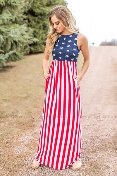 "Show your love for your country with this fun American Flag Maxi Dress! This is the perfect maxi dress for any patriotic holiday or event, making you the most stylish one for the occasion!  95% Rayon5% SpandexLining: 100% PolyesterDry Clean Made in U.S.A.  FIT: This garment fits true to size.BUST: Great for any cup size.WAIST: Fitted with stretch.UNDERGARMENTS: May be worn with any standard bra.FABRIC: Fabric contains stretch for a comfortable fit. Dress is lined.  Bust in Small 26"" Medi..."
