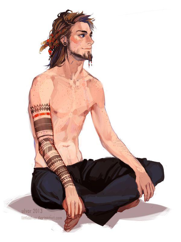 Male character illustration/artwork by the artist littleulvar @deviantart. Nice pose! (Henri Selas)