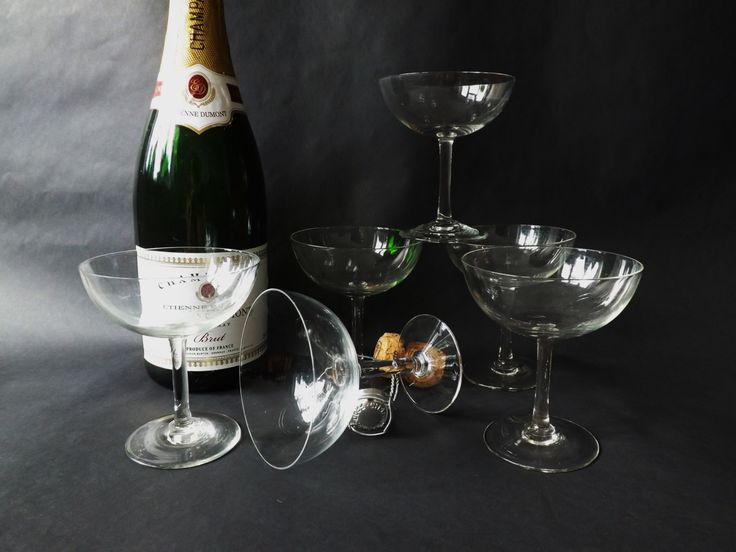 Set 6 Champagne Glasses,  Coupe Glasses Wedding Toast, Prosecco Saucer, Vintage Stemware, Cocktail Glassware, Desert Dishes, Retro Barware by CuriosAnCollectibles on Etsy