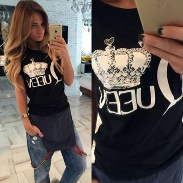 2016 Reina de impresión camiseta de las mujeres camisa de algodón de verano divertido para dama de la moda de fitness marca harajuku femenina camiseta kawaii punk tops envíos gratuitos en todo el mundo