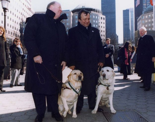 "Guide dogs Salty and Roselle were awarded a joint Dickin Medal ""For remaining loyally at the side of their blind owners, courageously leading them down more than 70 floors of the World Trade Center and to a place of safety following the terrorist attack on New York on 11 September 2001."""