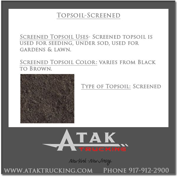 Screened Topsoil for sale at wholesale prices including delivery @Atak Trucking to New Jersey and New York. Call 917-912-2900 for the cost of Screened Topsoil delivered. #AtakTrucking #StatenIsland #NJ #ContructionMaterials #MasonryMaterials #ScreenedTopsoil #Topsoil #Soil