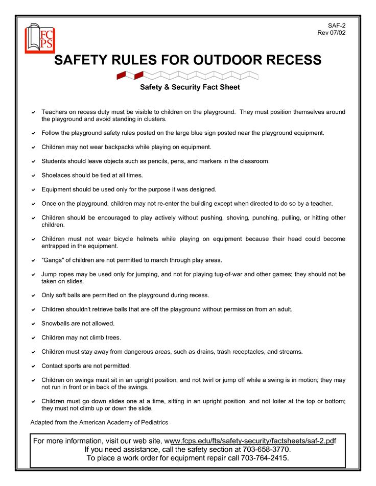 safety of outdoor play Outdoor play outdoor playground inspections as with indoor play areas, there is no current legislation dictating that outdoor play safety should be managed and assessed via playground inspections that said, there are several organisations and sectors that recommend their implementation as a matter of best practice.
