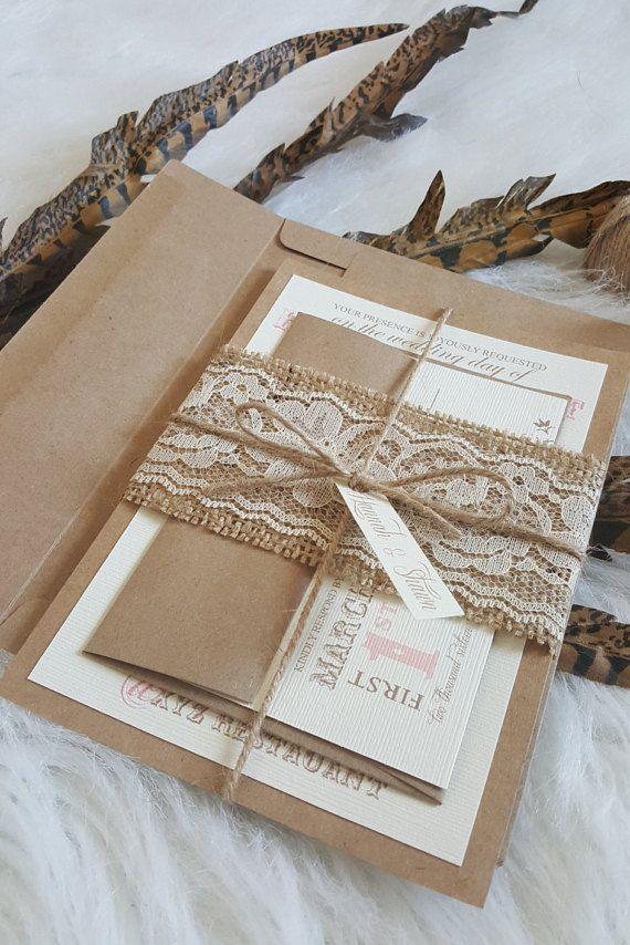 Rustic Wedding Invitation Suite Burlap Lace U0026 By CraftedLeaf