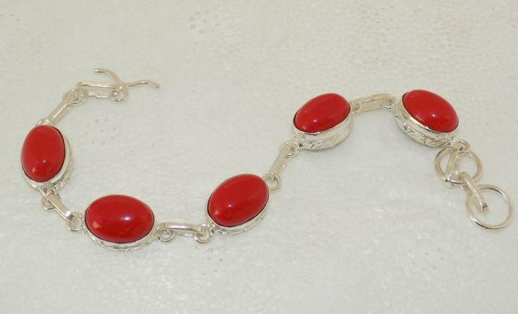 SIMULATED HOT RED CORAL SINGLE LINE JEWELRY 925 STERLING SILVER OVERLAY BRACELET #HANDMADE