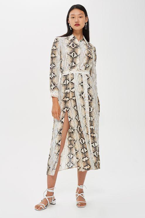 5b7f95f4a6db Snake Print Pleated Shirt Dress   Get in my closet!   Pleated shirt ...