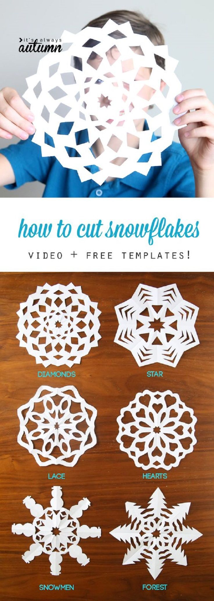 DIY Paper Snowflakes – Video Tutorial + Free Patterns - 11 Kid-Friendly Christmas Crafts To Occupy Your Loved Ones During The Season