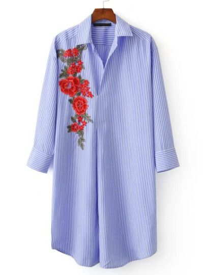 Blue Striped Flower Embroidered Applique Shirt Dress