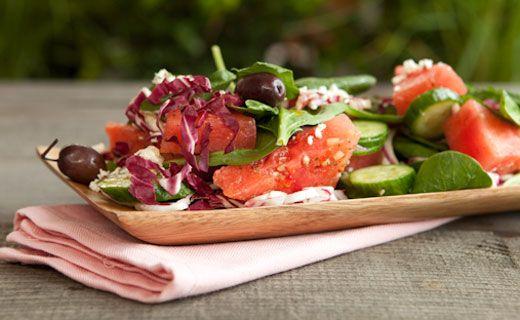 Watermelon, Feta and Spinach Salad