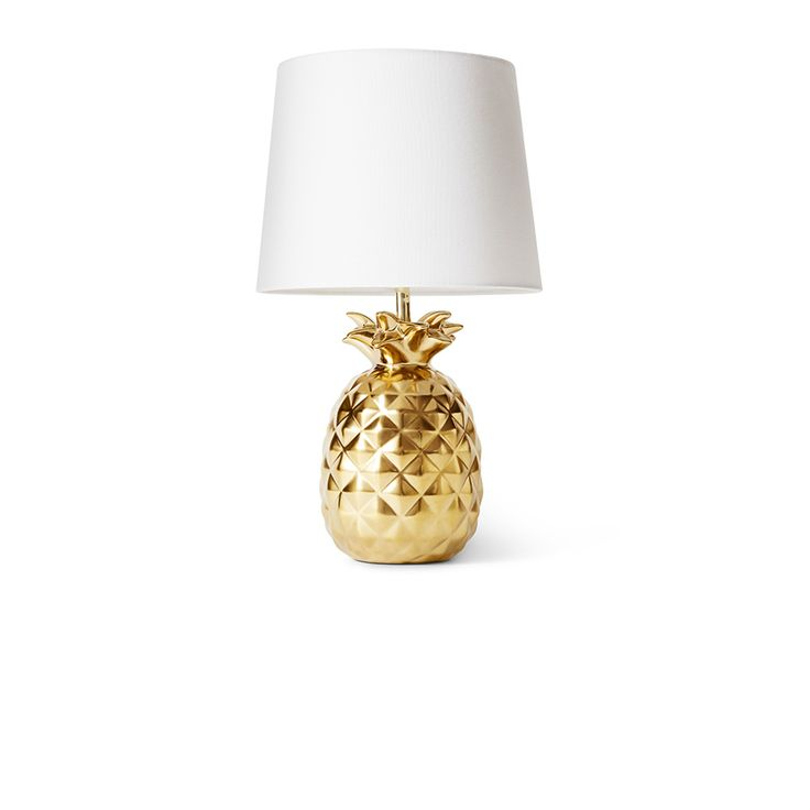 tropical treehouse: golden pineapple lamp with a different shade.