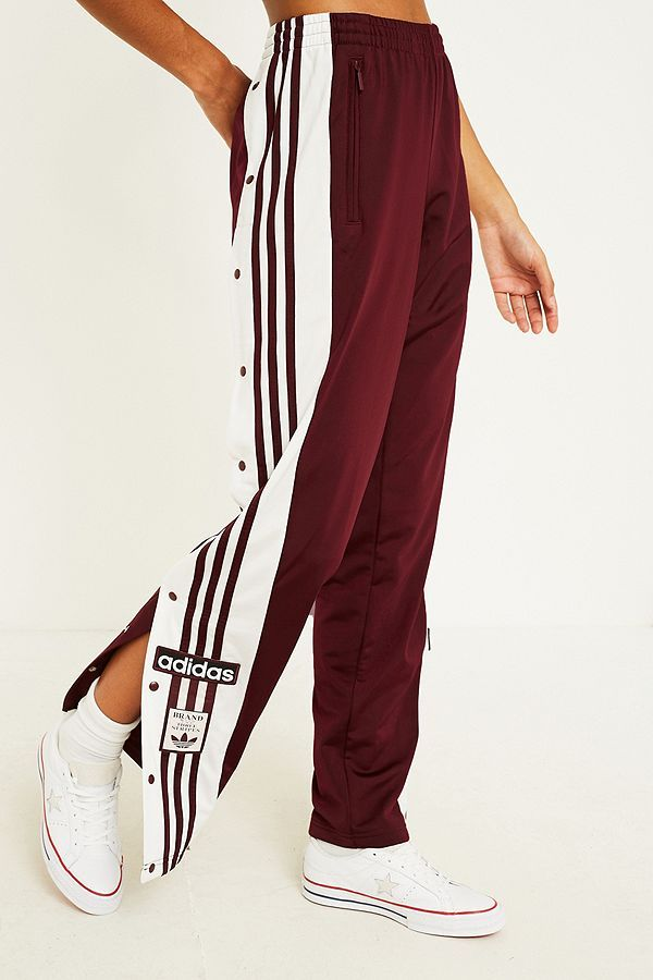 3f08da419e4 Slide View: 4: adidas Originals Adibreak 3-Stripe Maroon Taping Popper Track  Pants