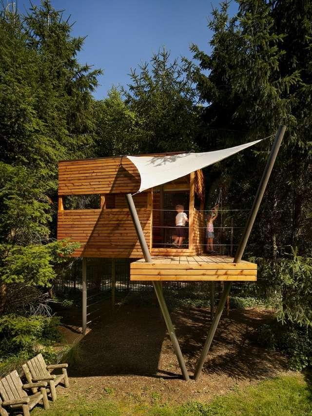 Baumhaus Villa bauen Sonnensegel Holz Kinder Erwachsene