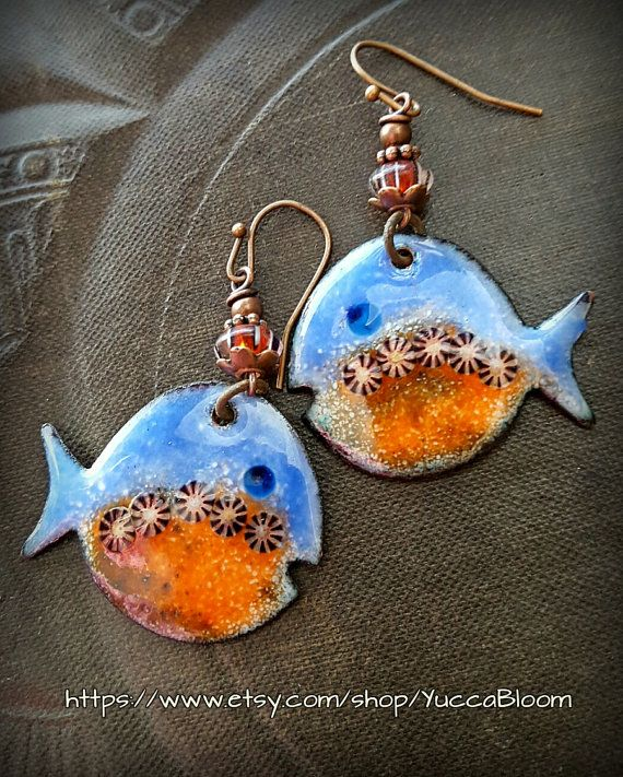 Enameled Copper Earrings, Copper Fish, Beach, Vintage, Fish Earrings, Earthy, Primitive, Organic, Rustic, Beaded Earrings