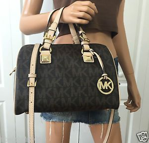 Michael Kors MK Signature PVC Medium Satchel Grayson Tote Crossbody Bag Brown