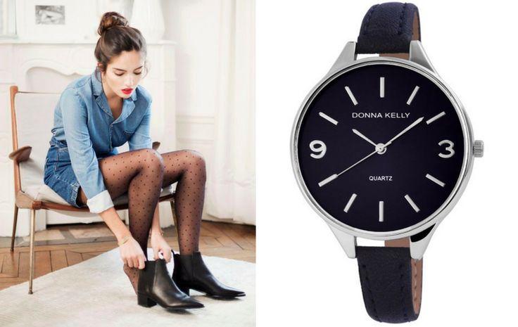 A sötétkék és fekete színei ellenére ez az óra még a világosabb farmer ruháidat is feldobja majd. Elég bátor vagy a formabontó vonalvezetéshez és a merész formákhoz?