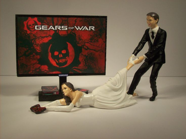 GAMER GIRL Gears of War XBOX Handmade Bundle Bride and Groom Funny Wedding Cake Topper Video Game by mikeg1968 on Etsy https://www.etsy.com/listing/216102164/gamer-girl-gears-of-war-xbox-handmade
