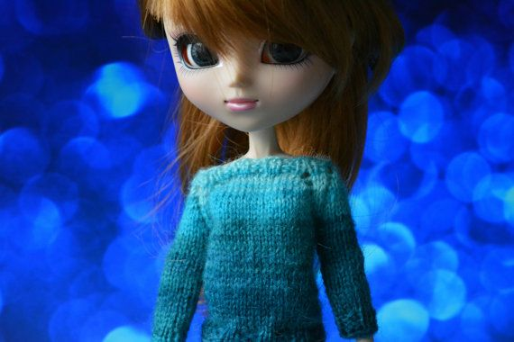 Sweater turqoise mohair Pullip Obitsu 27 button by MintyAtelier