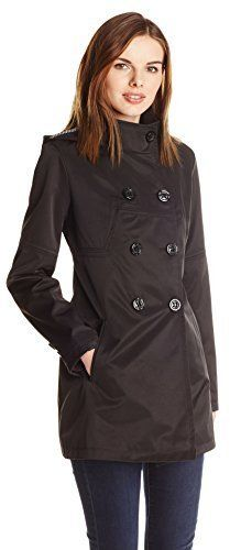 $89, Black Trenchcoat: Jessica Simpson Double Breasted Raincoat With Hood. Sold by Amazon.com. Click for more info: https://lookastic.com/women/shop_items/307021/redirect
