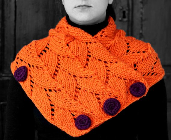 Neck warmer orange by MmeDefargeYarnworks on Etsy.