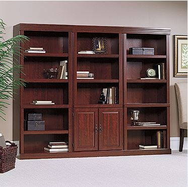 Sauder Heritage Hill 3 Shelves Wall Bookcase With Cabinet In Cherry Lowest Price Online On All