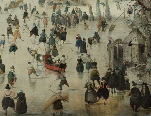 Winterlandschap met schaatsers, Hendrick Avercamp, 1608 (click picture to see in full)