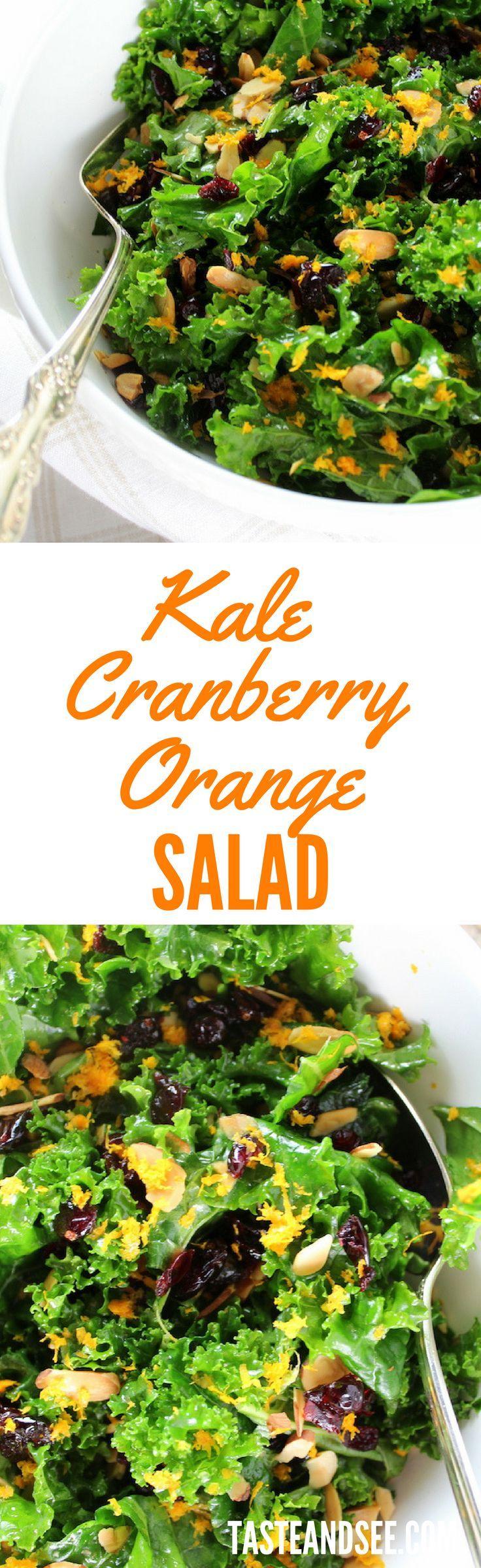 Kale Orange Cranberry Salad - super-quick, healthy, & delicious!  Low-Carb, Low-Cal, Paleo, Gluten-Free, Vegan http://tasteandsee.com