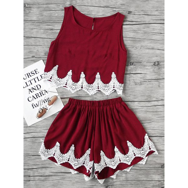 Chevron Lace Hem Split Back Tank Top With Shorts ($16) ❤ liked on Polyvore featuring burgundy and lace two piece