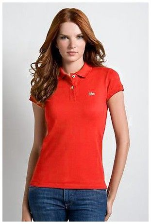 outlet ralph lauren! Vente Polo Lacoste Femmes revers court T Shirt rouge pas cher