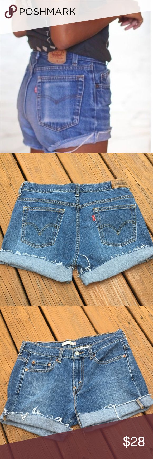 """High waisted Levi cutoffs Vintage Levi cutoffs. High waisted. Will add rips if requested. Measurements: waist 32"""" hips 40"""". These stretch! Levi's Shorts Jean Shorts"""