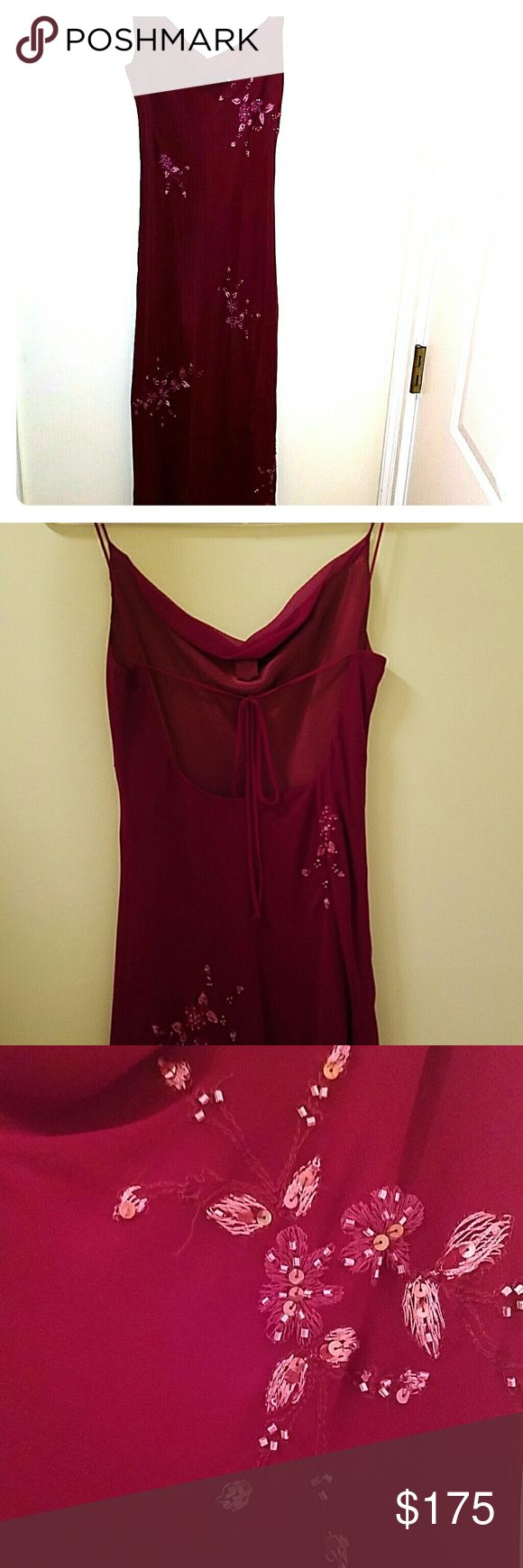 Laundry maroon silk dress with beautiful detail NEW LOW PRICE!!!! Lined with polyester. Perfect for wedding guest. Worn once. Laundry by Shelli Segal Dresses High Low