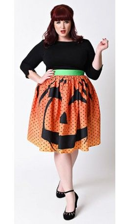 So stunning it's spooky-  Unique Vintage Plus Size 1950s Orange Pumpkin Dot High Waist Circle Swing Skirt