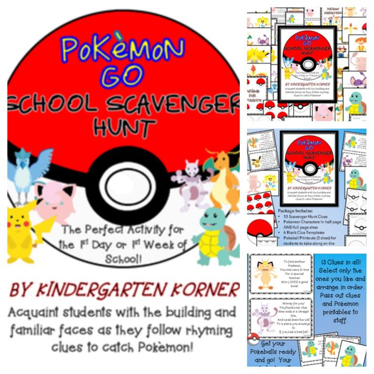 This POKEMON GO SCHOOL SCAVENGER HUNT is guaranteed to make your first day or first week a fun one. Great for pre-k, kindergarten, first, or second grade! Comes with all you need including POKEMON characters that can also be used for BULLETIN BOARDS, LOCKER TAGS, CLASSROOM DECOR AND MORE! Check it out. Last day to save! Awesome for back to school / beginning of the year!