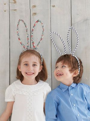 easter bunny headband :: headband, pipe cleaners, fabric or bias tape